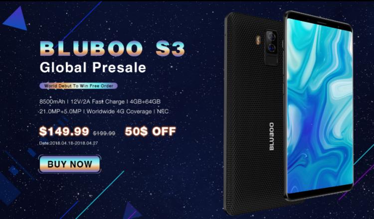 Смартфон Bluboo S3 сбатареей на8500 мАч продается за150 долларов