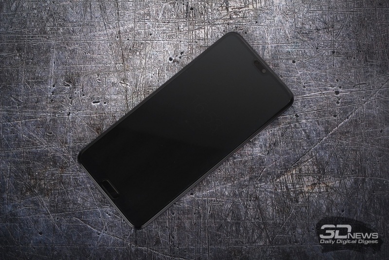 Huawei P20 Pro, лицевая панель: сверху – вырез с индикатором состояния, фронтальной камерой и динамиком, снизу – аппаратная, но сенсорная клавиша «Домой»