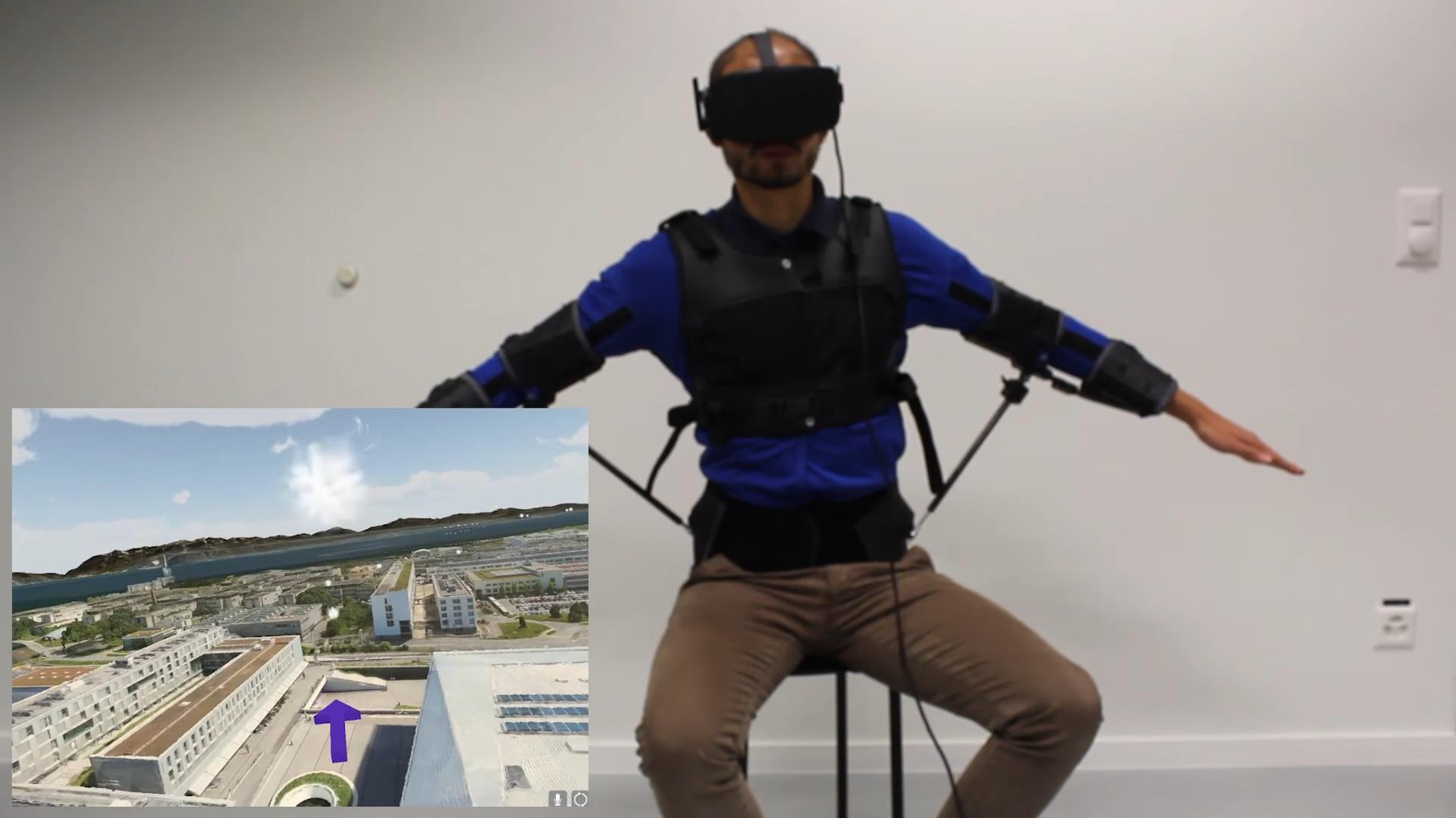 Исследователи создали экзокостюм для управления дроном движениями туловища