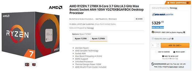 Онлайн-магазин Newegg (США) определил цену Ryzen 7 2700X в $329,99 как акционную