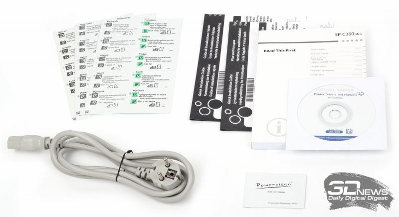 Комплект поставки принтера Ricoh SP C360DNw