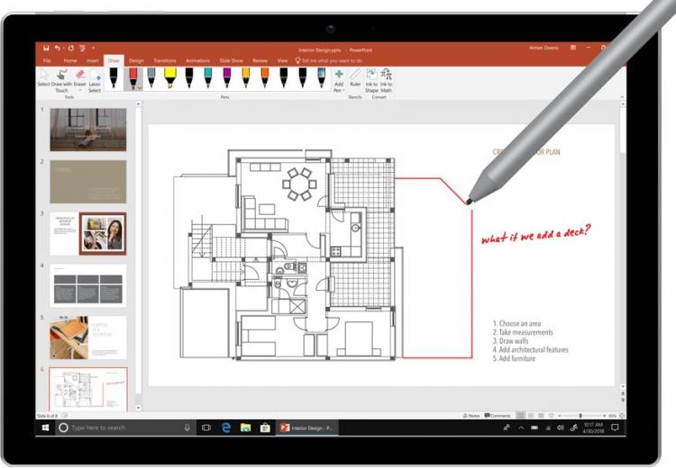 Улучшенная поддержка цифрового пера приближает работу с приложениями Office 2019 к естественному рисованию карандашом на бумаге