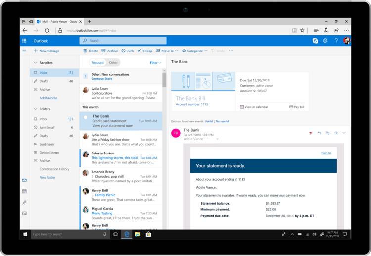 Microsoft анонсировала ряд улучшений для почты Outlook