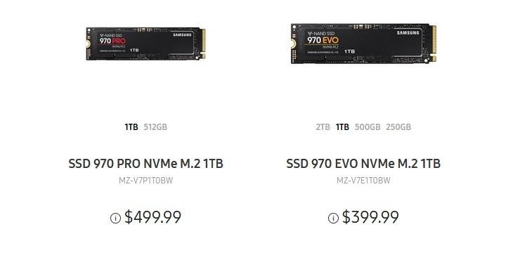 ssd2 - Новейшие накопители 970 PRO и 970 EVO появились на сайте Samsung по сниженной цене