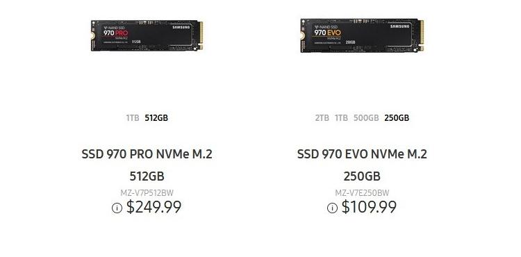 ssd3 - Новейшие накопители 970 PRO и 970 EVO появились на сайте Samsung по сниженной цене