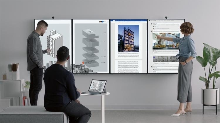 """Microsoft представила гигантский дисплей для работы в офисе Surface Hub 2"""""""