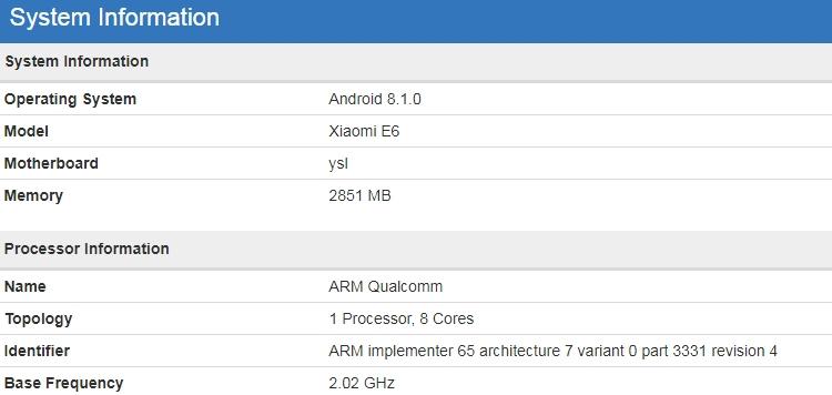 "Смартфон Xiaomi E6 получит процессор Snapdragon 625"""