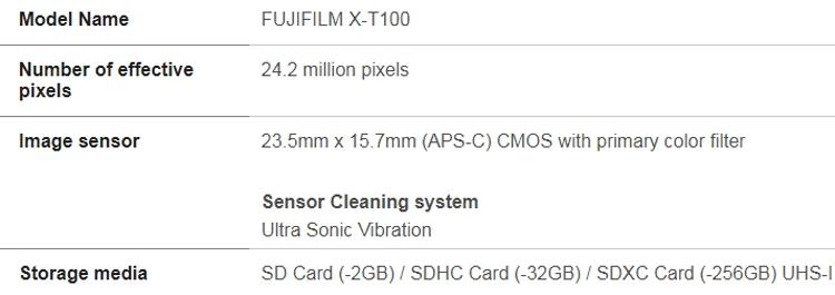 "Раскрыты характеристики беззеркальной фотокамеры Fujifilm X-T100"""