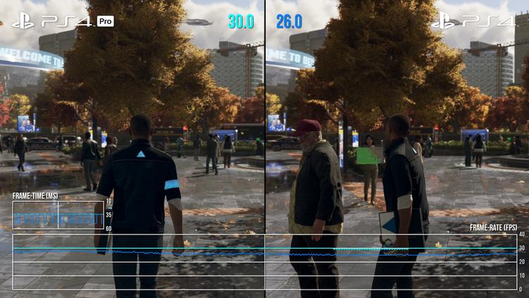 И на PlayStation 4, и на PlayStation 4 Pro игра работает при 30 кадрах/с, но на второй консоли она работает стабильнее в больших открытых локациях.
