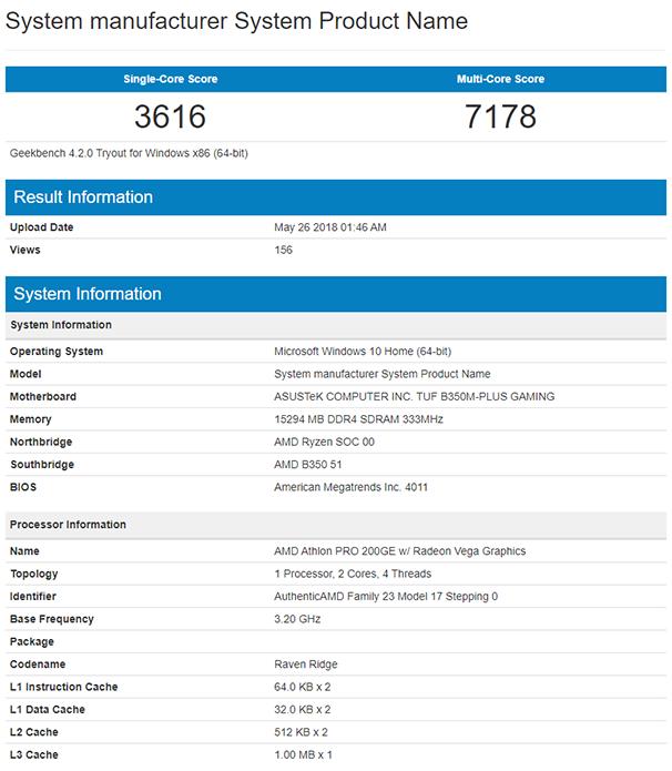 Результат Athlon PRO 200GE в Geekbench 4