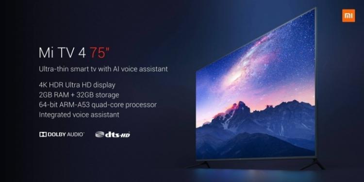 "Xiaomi Mi TV 4 75″: смарт-ТВ с экраном 4К HDR за $1405"""