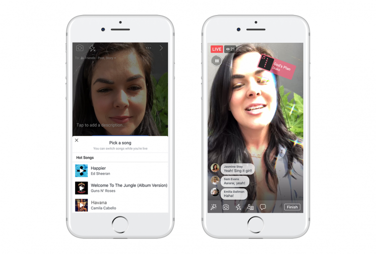"""В Facebook появилась возможность записывать музыкальные ролики с лицензированными песнями"""""""