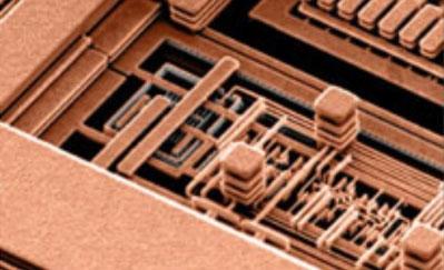 Процессор IBM CMOS 7S: 7 слоёв медных соединений с удалённм для наглядности диэлектриком (IBM)