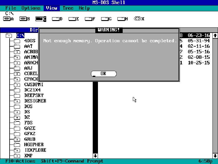 Графический интерфейс DOS Shell