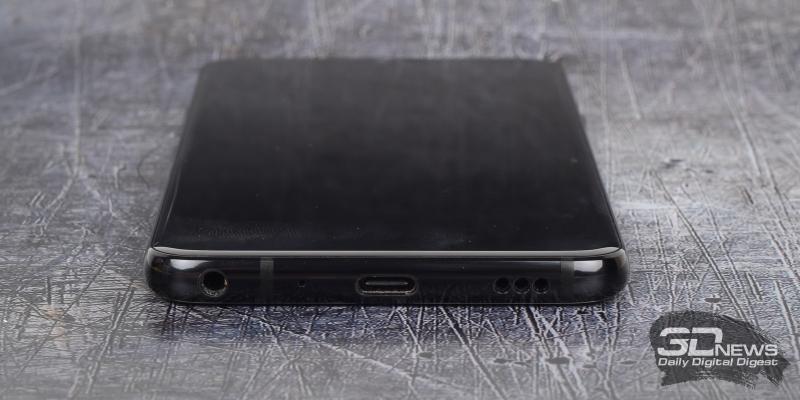 LG G7 ThinQ, нижняя грань: мини-джек (3,5 мм), микрофон, разъем USB Type-C, основной динамик