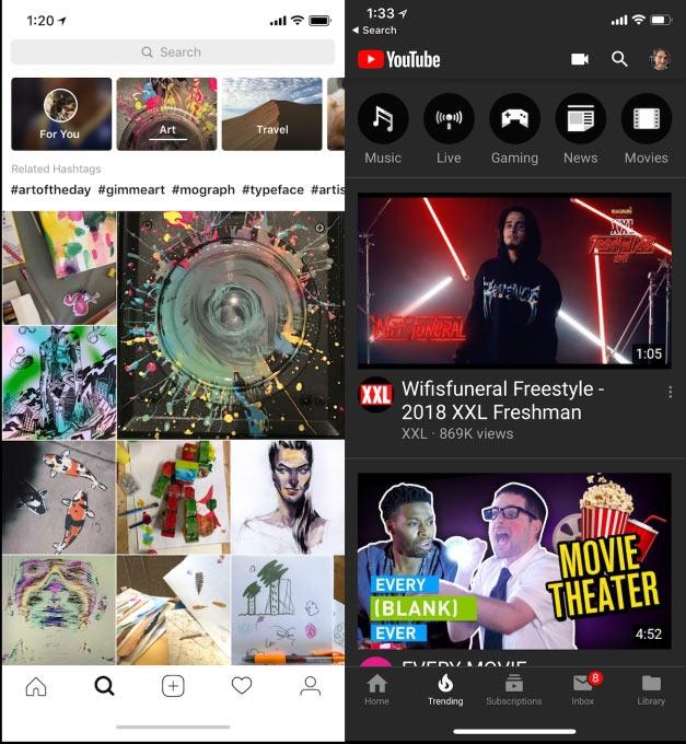 Новые каналы Explore в Instagram (слева) против страницы YouTube Trending