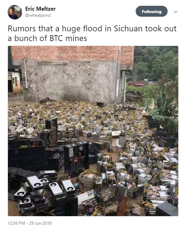 """Дожди в Китае залили криптофермы, ожидается повышение спроса на оборудование"""""""