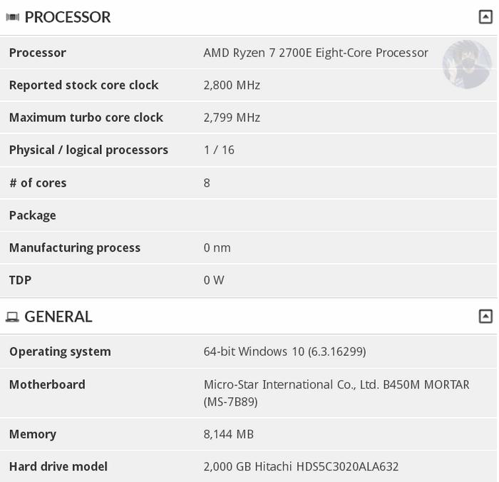 Ryzen 7 2700E 01 - Процессор AMD Ryzen 7 2700E с пониженным энергопотреблением замечен в базе 3DMark