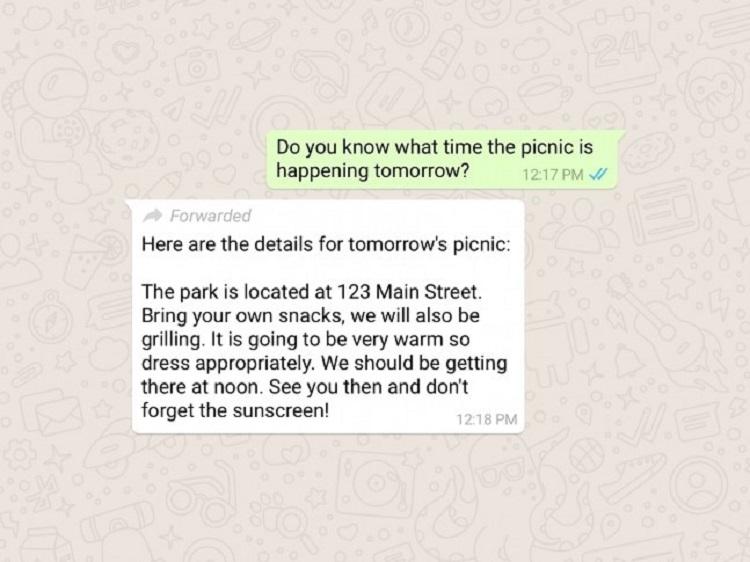 """WhatsApp теперь помечает пересланные сообщения"""""""