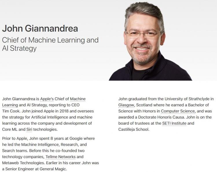 """Apple объединила команды машинного обучения, Siri и Core ML под руководством бывшего главы Google по ИИ"""""""
