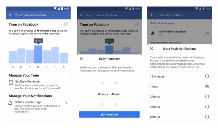 """В Facebook и Instagram появились инструменты управления временем, проведённым в приложениях"""""""