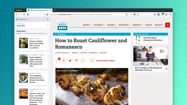 Firefox сейчас может советовать интересные статьи наоснове истории браузера