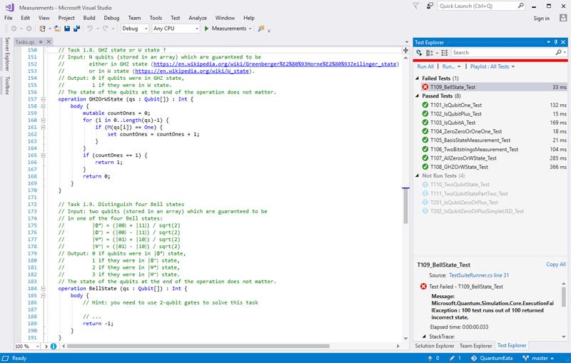 Работа с Quantum Katas в Visual Studio