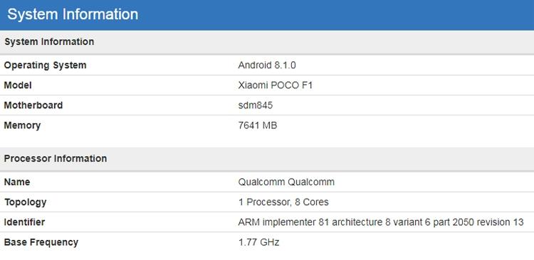 "Смартфон Xiaomi Pocophone F1 показался в бенчмарке с 8 Гбайт ОЗУ"""