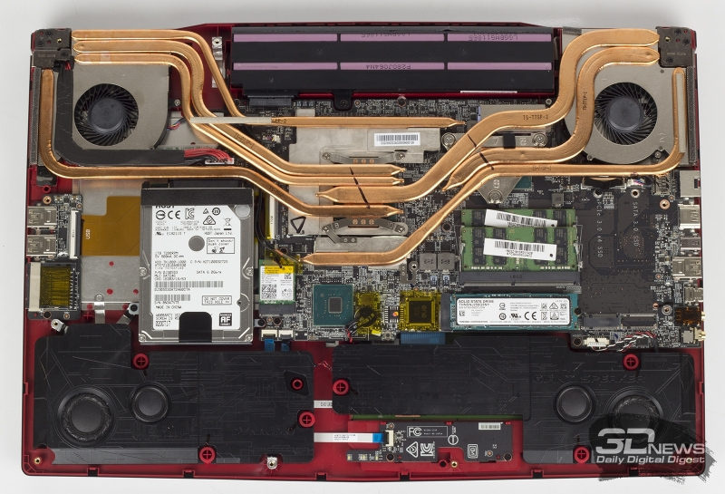 Пример системы охлаждения ноутбука, которая справится с отводом тепла от 6-ядерного Core i7