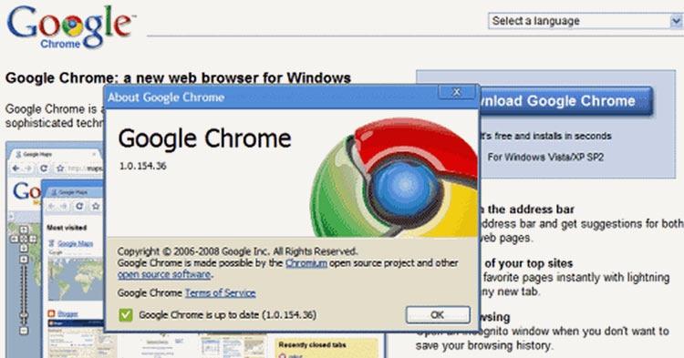 Первая стабильная сборка Chrome