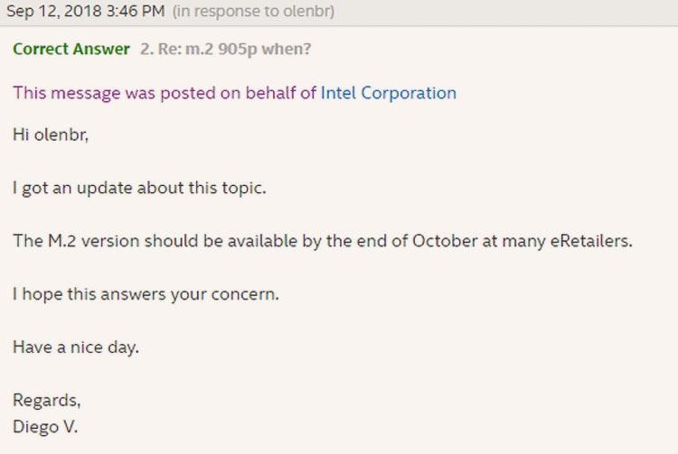 "Intel пообещала выпустить Optane 905P M.2 в конце октября"""