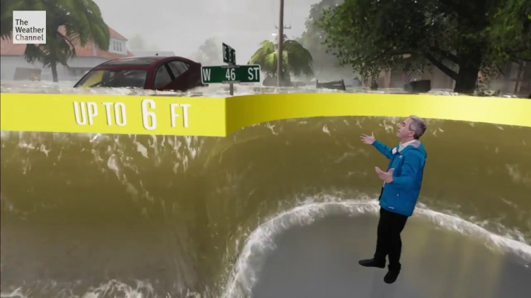 """Последствия урагана «Флоренс» на The Weather Channel были показаны с помощью Unreal Engine 4"""""""
