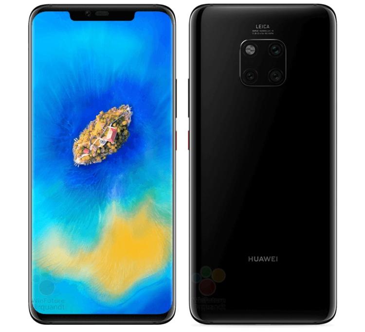 """Смартфон Huawei Mate 20 Pro с тройной камерой предстал на рендерах в различных цветах"""""""