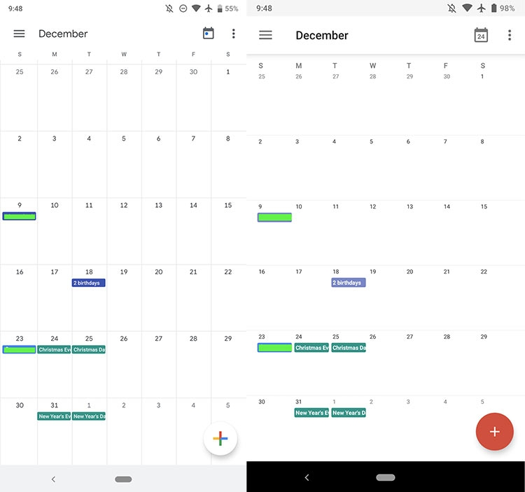 5132dceae1d2 В качестве шрифта используется Google Sans во всех элементах приложения,  включая месяцы, дни и даты. Раньше на панели приложений размещался значок,  ...