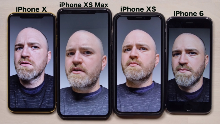 Сравнение селфи на разных моделях iPhone наглядно демонстрирует наличие эффекта сглаживания у XS и XS Max (скриншот из видеоролика YouTube-канала Unbox Therapy)