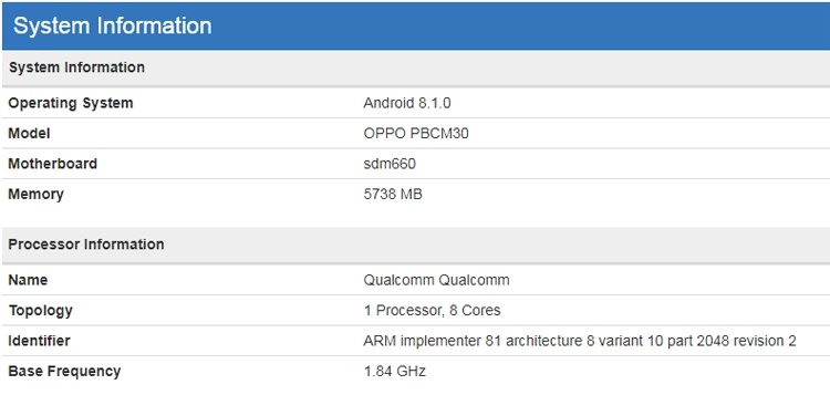 "В бенчмарке замечен смартфон OPPO K1 на платформе Snapdragon 660"""