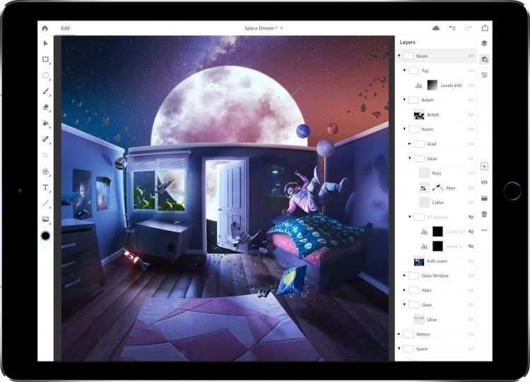"""Adobe пообещала выпустить на iPad полноценный Photoshop CC в 2019 году"""""""