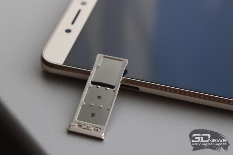 BQ Twin Pro, слот для SIM-карт и карты памяти стандарта microSD