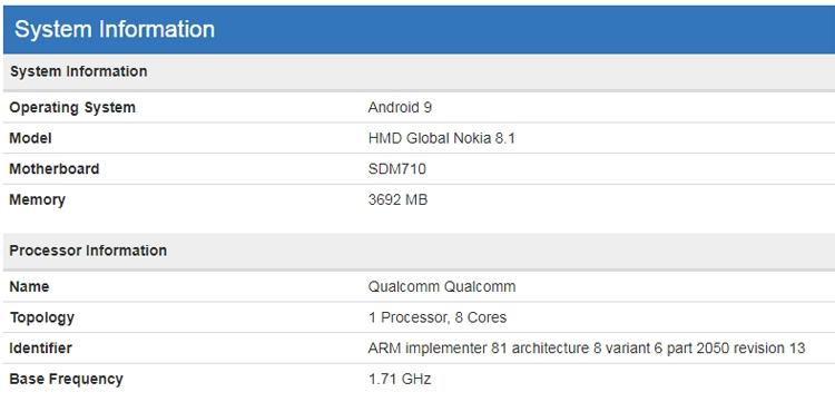 """Смартфон Nokia 8.1 замечен в бенчмарке с процессором Snapdragon 710"""""""