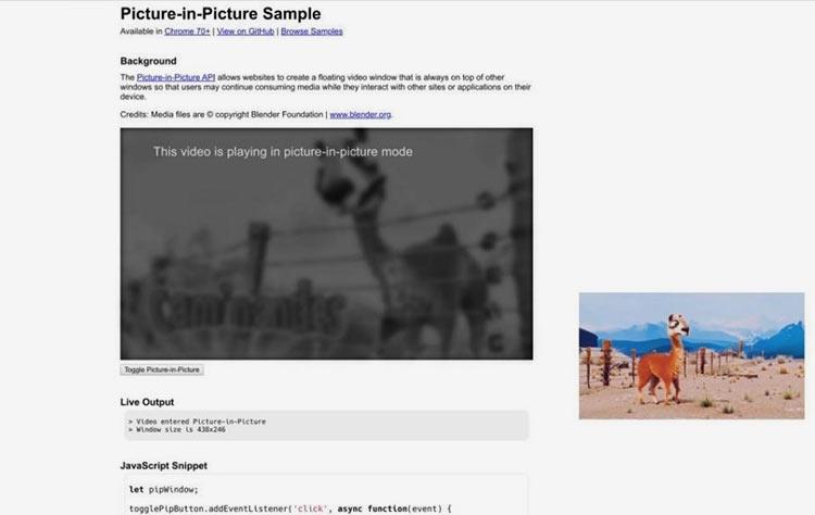 """Chrome теперь поддерживает функцию «Картинка в картинке» для некоторых видео"""""""