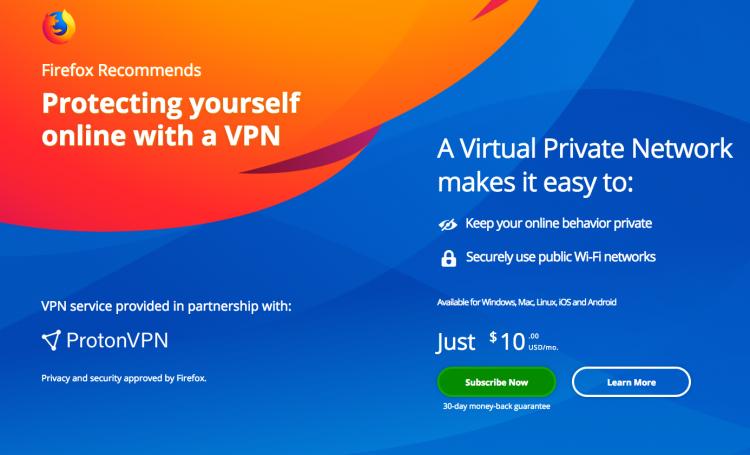 """Mozilla запускает тестирование платного VPN в браузере Firefox"""""""