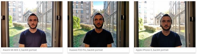 Со съёмкой портретов в контровом свете Xiaomi Mi Mix 3 справляется лучше iPhone X, но оба уступают Huawei P20 Pro