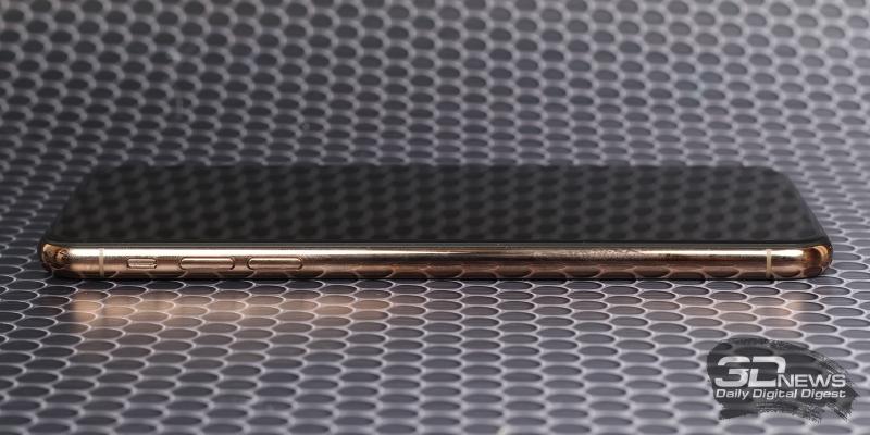 Phone Xs Max, левая грань: переключатель звуковых режимов, клавиши регулировки громоксти/спуска затвора камеры
