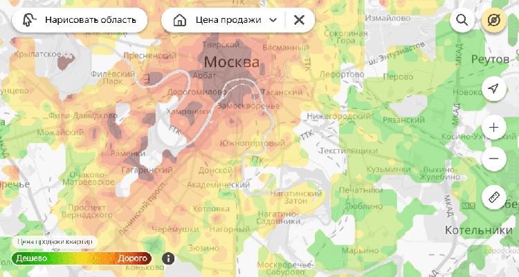 """«Яндекс» запустил «тепловые карты» цен на жильё"""""""