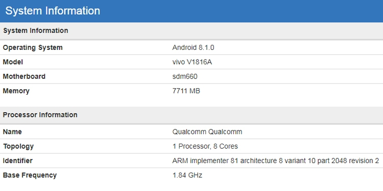 "Vivo готовит смартфон среднего уровня на платформе Snapdragon 660"""