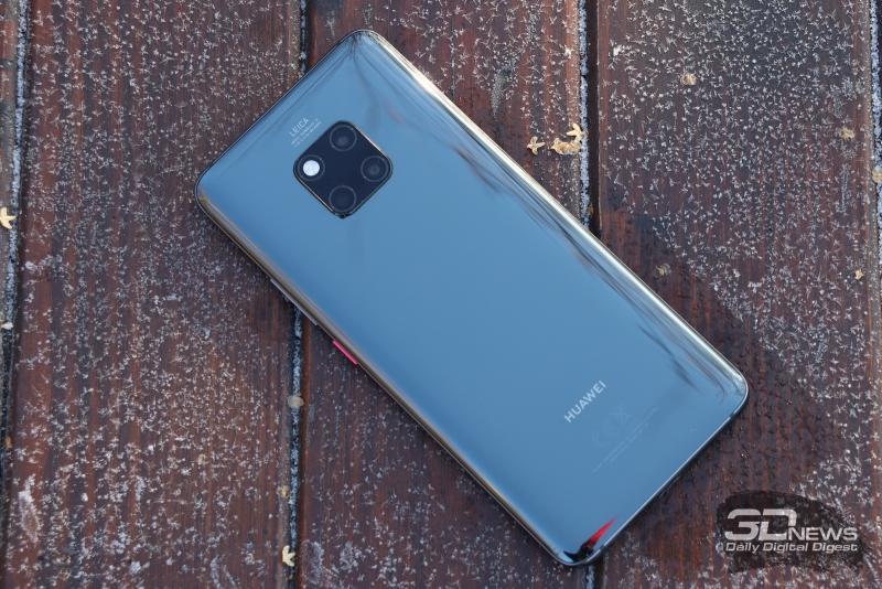 Huawei Mate 20 Pro, задняя панель: по центру – три объектива камеры и двойная светодиодная вспышка