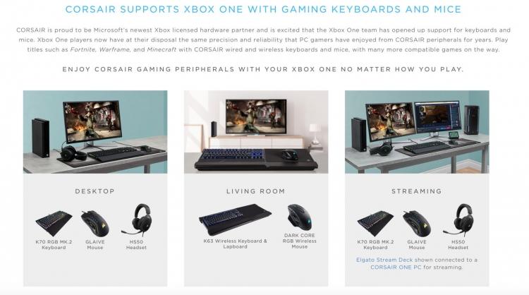 """Выбор игровых аксессуаров для Xbox One расширяется: Corsair объявила о поддержке консоли"""""""