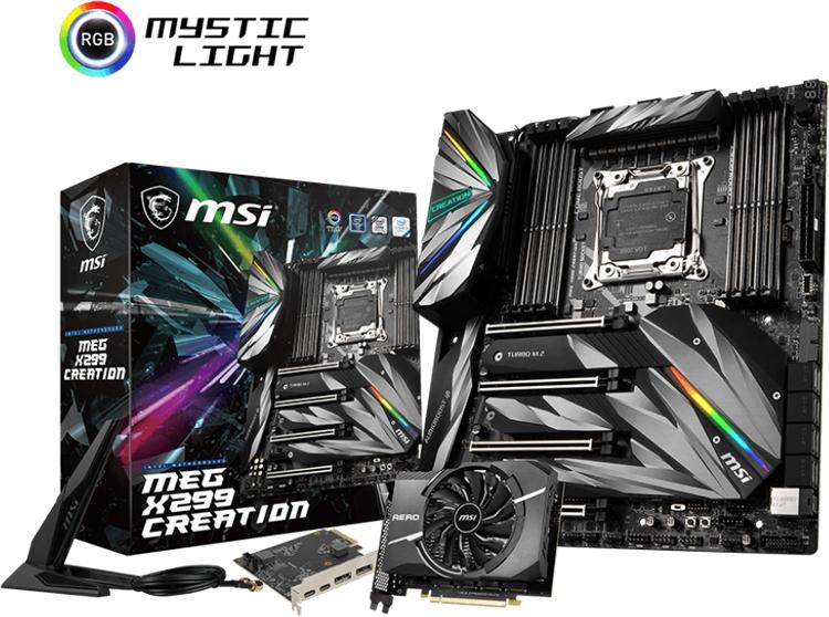 "Плата MSI MEG X299 Creation оснащена адаптерами 2.5 Gigabit Ethernet и Wi-Fi 802.11ac"""