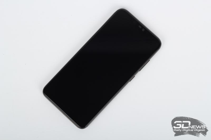 BQ Aurora 2, лицевая панель: в верхней части экрана – вырез с фронтальной камерой, индикатором состояния, разговорным динамиком, датчиком освещенности и 3D-датчиком для распознавания лица