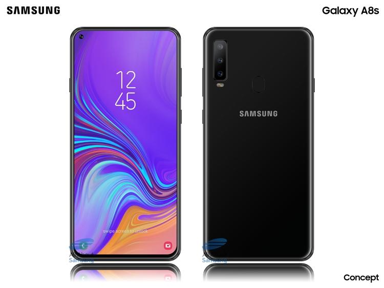 """Рассекречен смартфон Samsung Galaxy A8s: экран Infinity-O с отверстием и тройная камера"""""""